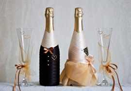 Декор бутылок на свадьбу своими руками