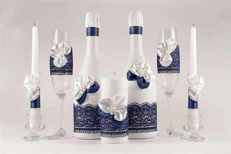 Украшение на шампанское для свадьбы своими руками фото 380