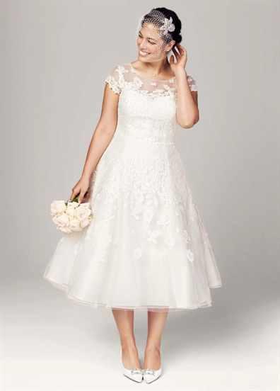 Короткие свадебные платья на полных девушек и цены