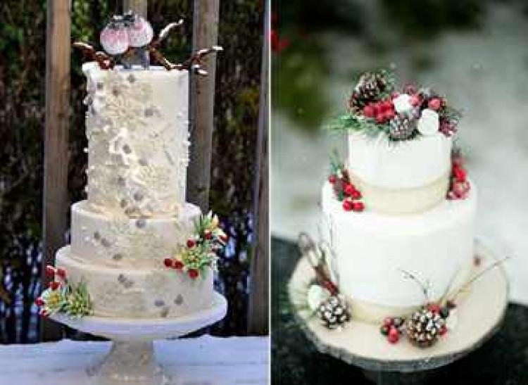 Свадебный торт со снегирями