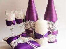 как украсить шампанское на свадьбу своими