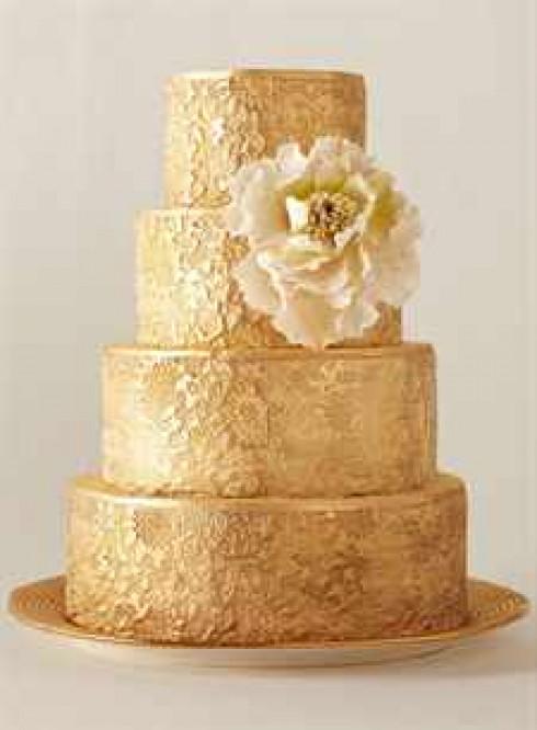 Свадебный золотой торт