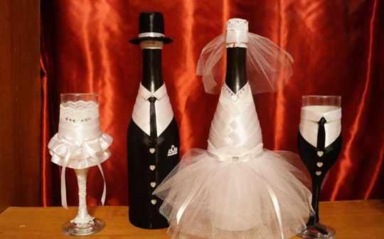 Украшение свадебной бутылки шампанского своими руками фото 710