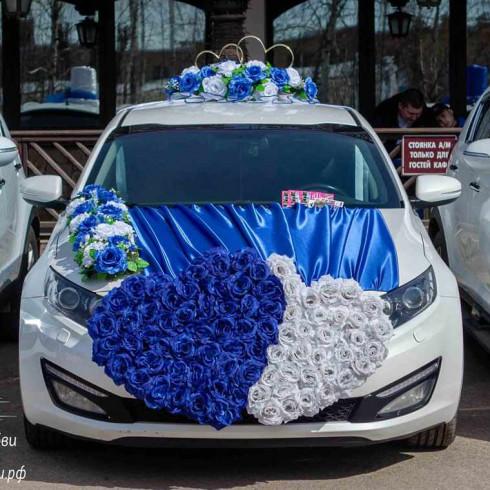 Украшение машины на свадьбу бело синее