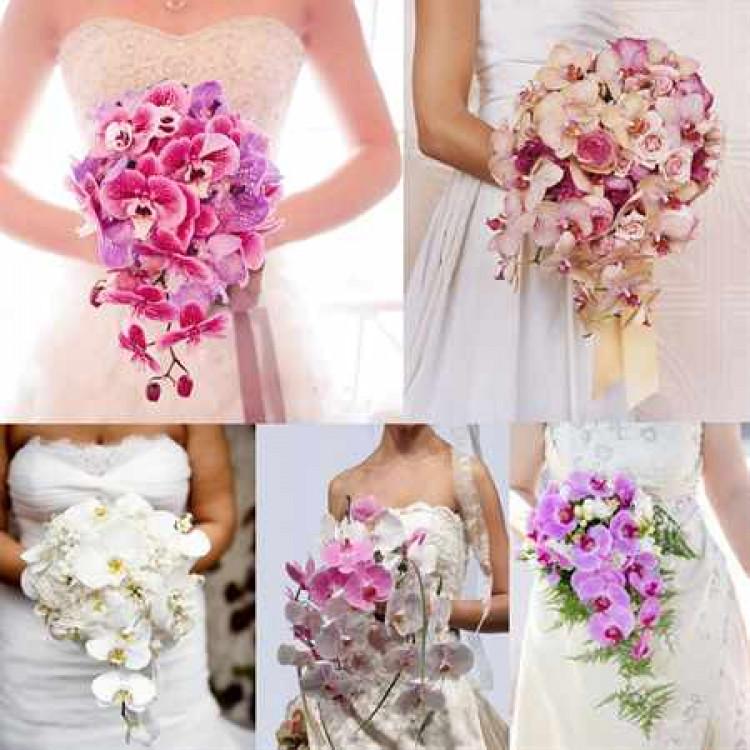 Свадебный букет из орхидей синих
